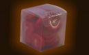 Glazed cube box containing 20 chocolate coins red